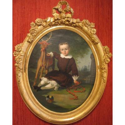 """Huile sur toile :  """"portrait d'un enfant au milieu de ses jouets"""" par Charles Colson."""