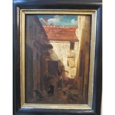 """Huile sur panneau """"arrière cour de ferme """" par  Edouard Charles Hugot"""