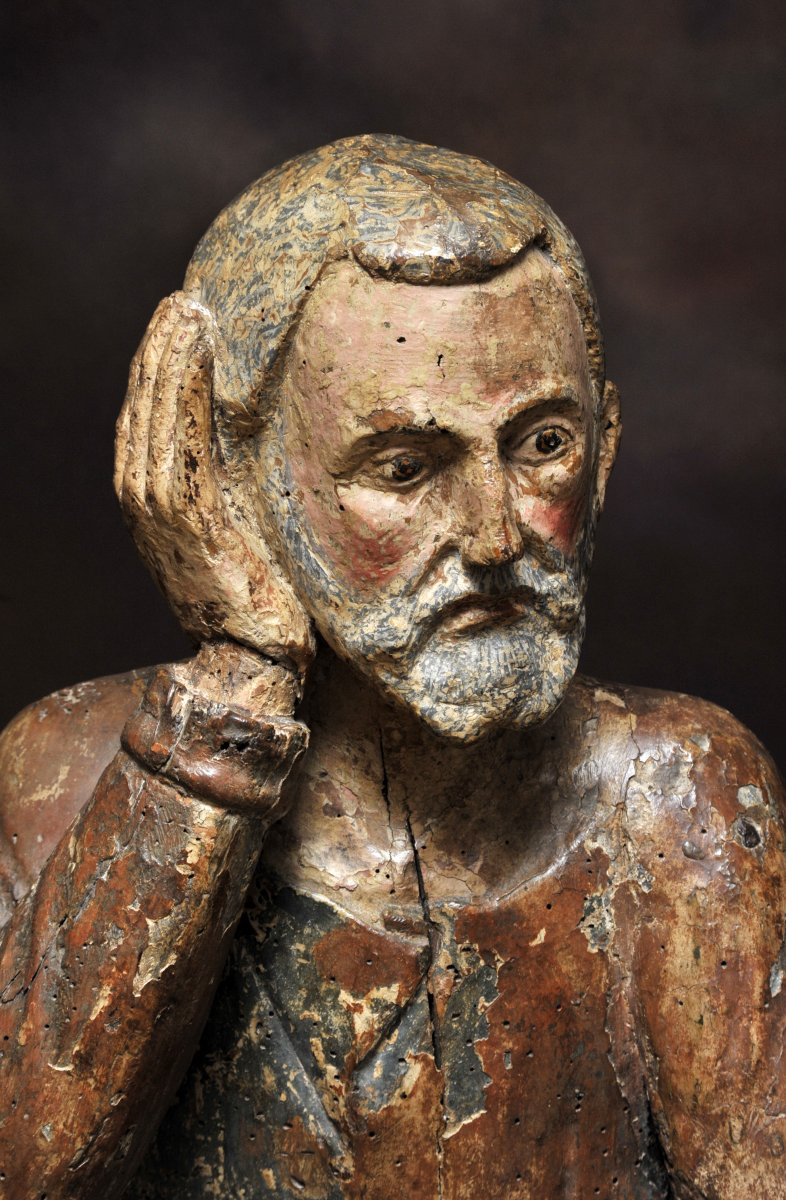 Holy Character Carved Wood Polychrome