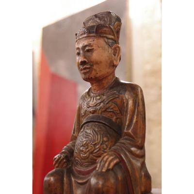 Statut En Bois Polychrome De Dignitaire Bouddhiste