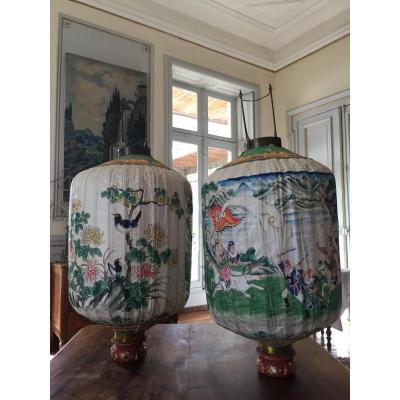 Importante Paire De Lanternes Chinoise En Papier