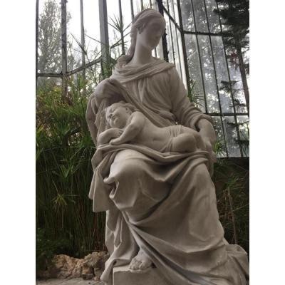 Grande Vierge à l'Enfant En Plâtre