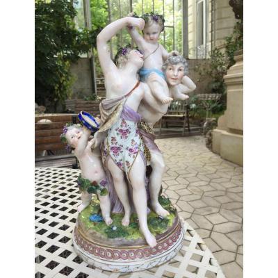 Groupe En Porcelaine De Saxe Fin 19eme