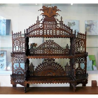 Large Openwork Wooden Wall Shelf