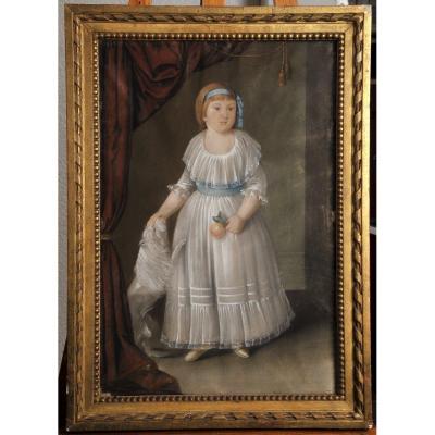 Pastel de la fin du  XVIIIeme siècle, Portrait De Petite Fille Au Chien
