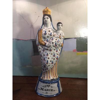 Vierge En Faience De Rennes Epoque XVIIIeme Siècle