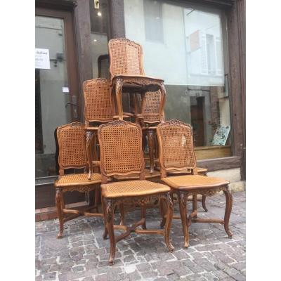 Beautiful Suite Of 8 Canned Chairs Louis XV Period