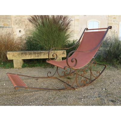 Rocking Chair En Fer Forgé Fin XIX Eme