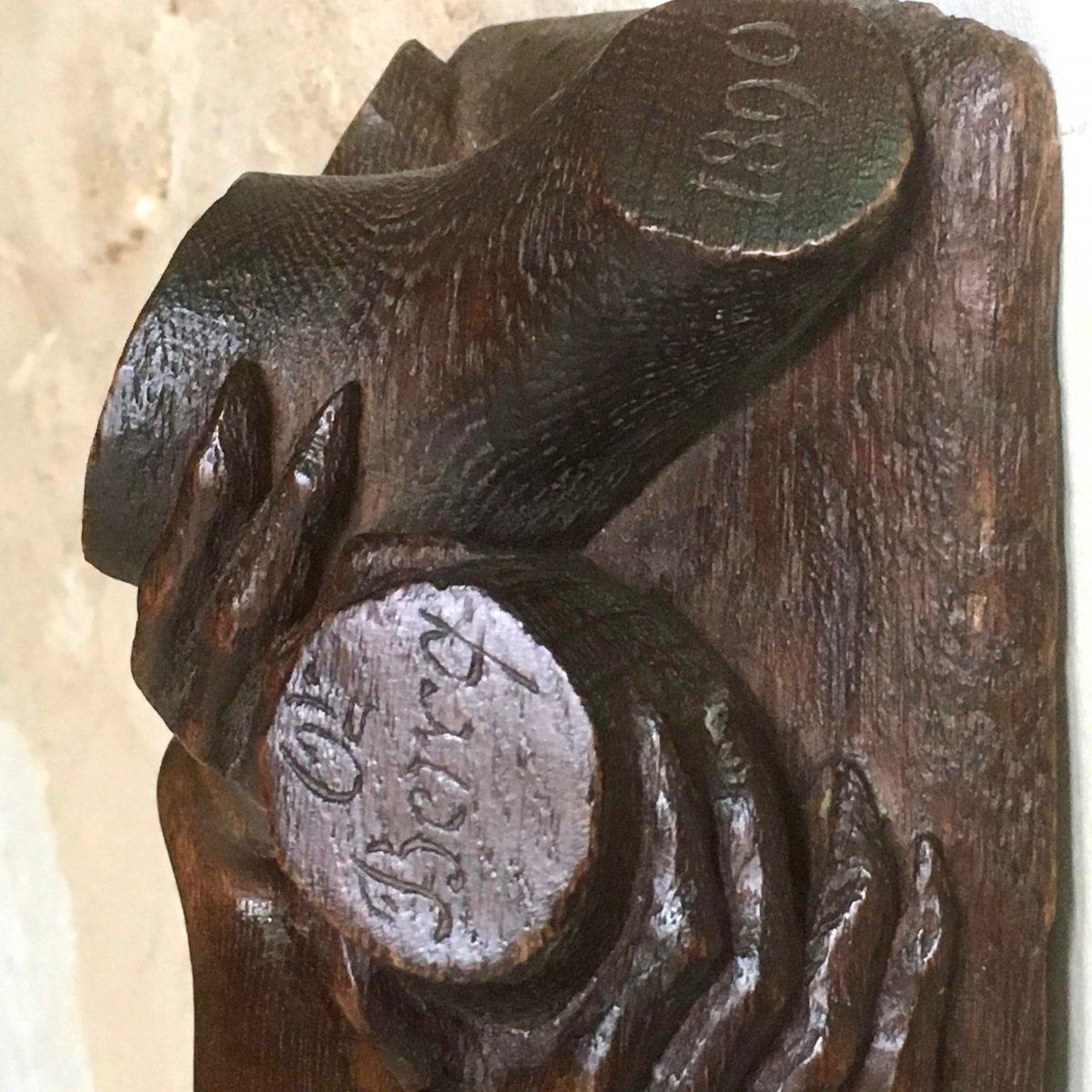 Panneau En  Bois  Sculpté , Décor De Singe Et De Fruits , Miroir Bombé-photo-1