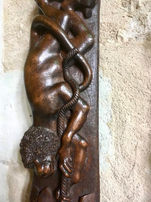 Panneau En  Bois  Sculpté , Décor De Singe Et De Fruits , Miroir Bombé-photo-2