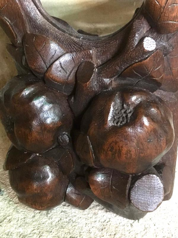 Panneau En  Bois  Sculpté , Décor De Singe Et De Fruits , Miroir Bombé-photo-4