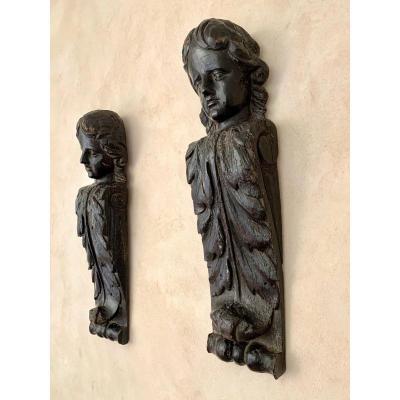 Pair Of Wooden Caryatids, 17th Century