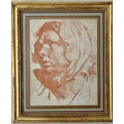 Portrait Of A Woman. Red Chalk Counterproof , Jean-baptiste Greuze