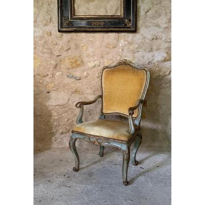 Painted And Gilded Armchair, Venice, 18th Century.