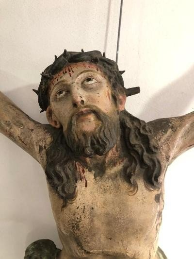 Grand Christ Daté 1666 Alsace, Vallée Du Rhin Polychrome d'Origine