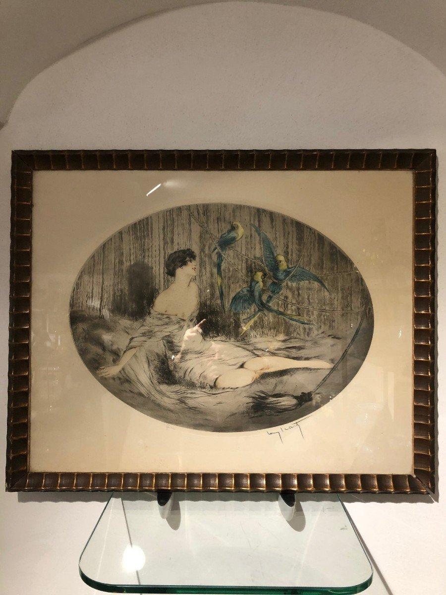 Superbe Gravure Louis Icart Femme Aux Trois Perroquets-photo-4