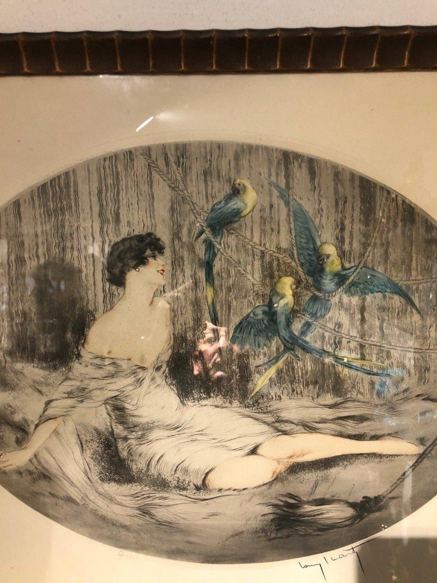 Superbe Gravure Louis Icart Femme Aux Trois Perroquets-photo-8