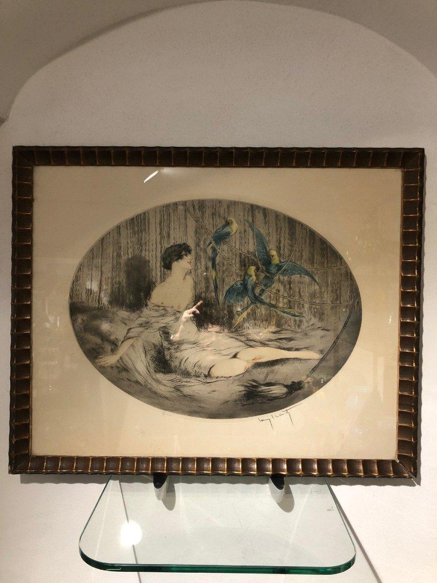 Superbe Gravure Louis Icart Femme Aux Trois Perroquets