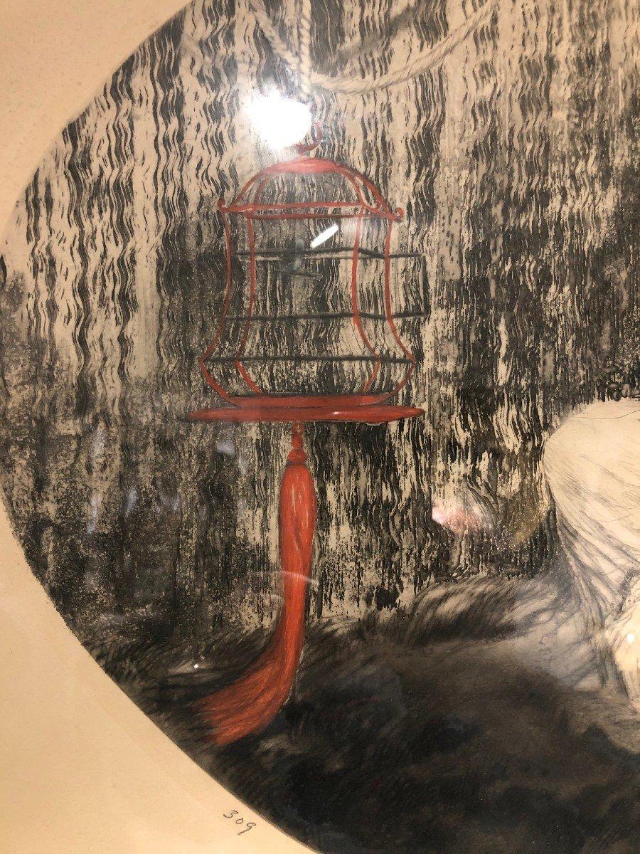 Superbe Gravure De Louis Icart La Cage Rouge-photo-1