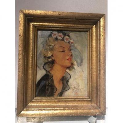 Domergue Jean Gabriel Huile Portrait Jeune Femme