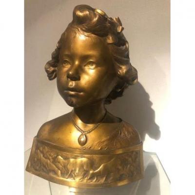 Bronze Bust Of Young Girl Art Nouveau
