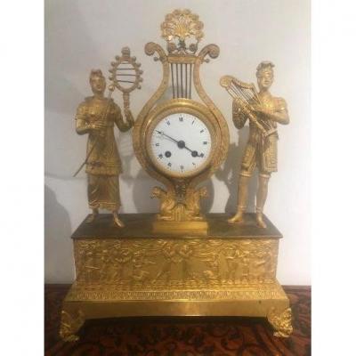 Pendule Bronze Dorée époque Empire Cadran Email