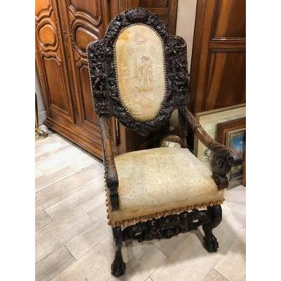 Armchair XVII Walnut Richly Carved Back Count Crown