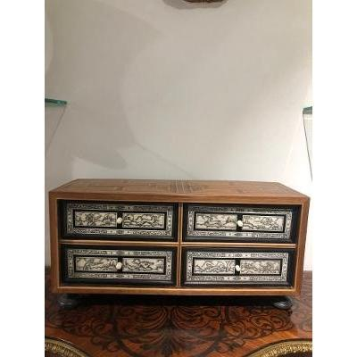 Inlaid Cabinet Four Drawers Hunting Scenes Bones And Ivories XIX E Time