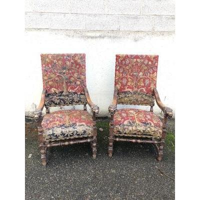 Pair Of Walnut Armchairs, Hand Tapestry, XIX Era
