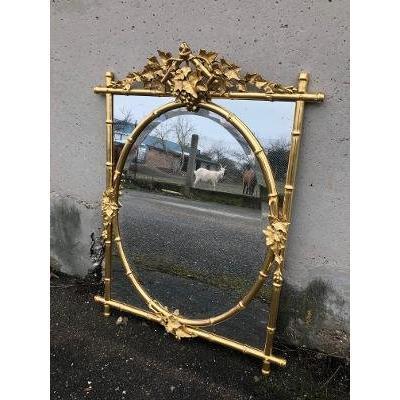 Miroir Doré Bambou Et Feuilles XIX