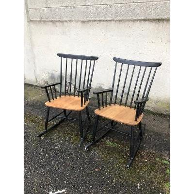 Paire De Fauteuils Rocking Chair Vers 1960
