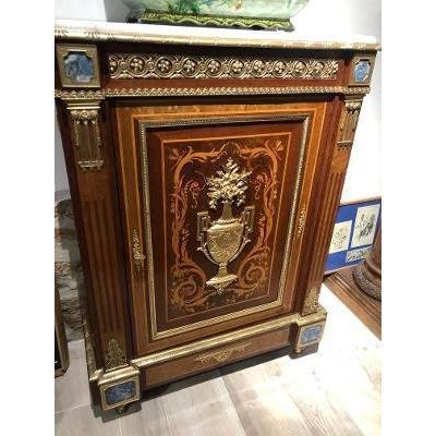 Meuble d'Appui Une Porte époque Napoléon III Bronze Et Lappis Lazuli