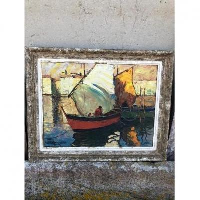 Oil On Panel D. Manago Marine Sailboats In Port