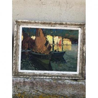 Oil On Panel D. Manago Marine Sailboats