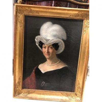Portrait De Femme Au Chapeau époque Empire Dans Son Cadre d'époque