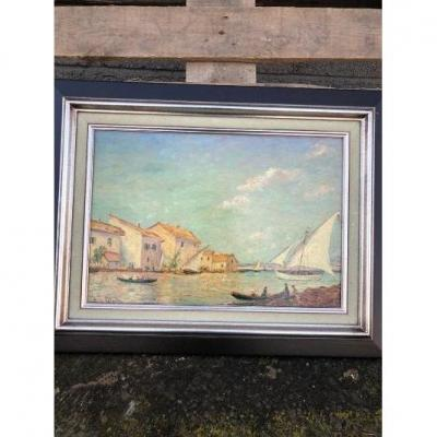 Oil Signed Henry Gerard View Of Venice