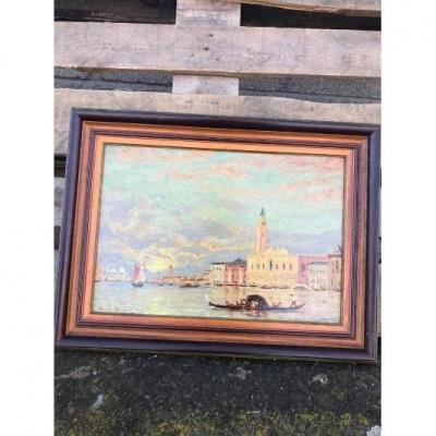 Oil Painting Signed Henry Gerard View Of Venice