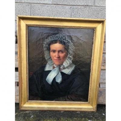 Huile Sur Toile Portrait De Femme Signé Henri Beltz 1842 cadre doré d'origine