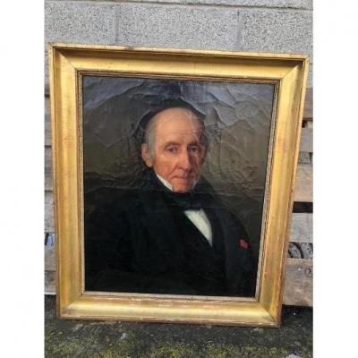 Huile Sur Toile Portrait d'Homme Signé Henri Beltz 1842 Cadre Doré d'Origine