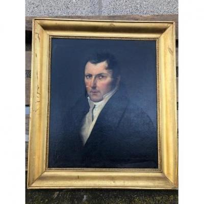 Portrait d'Homme De Qualité Huile Sur Toile Vers 1850 Cadre Doré d'Origine