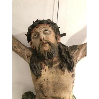 Large Christ Dated 1666 Alsace, Rhine Valley Polychrome Of Origin