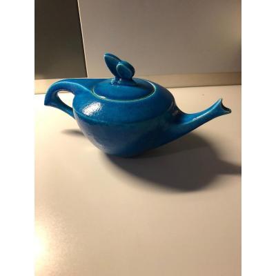 Teapot Signed Lachenal Blue