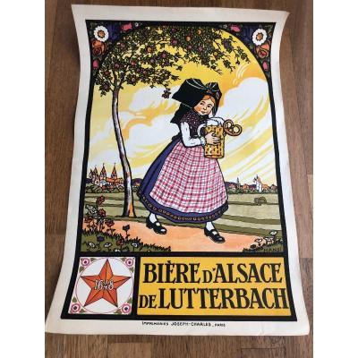 Affiche Ancienne Par Hansi Biere d'Alsace Lutterbach
