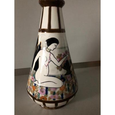 Vase Art Déco Camille Tharaud Limoges Deux Femmes Dans Un Jardin