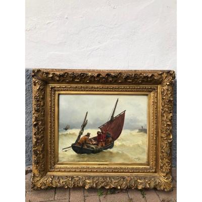 Peinture Marine G. Haquette Les Trois Frères Dieppe