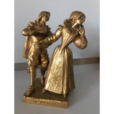 Bronze Doré Signé Bouquet Représentant L XIII  1610 - 1643