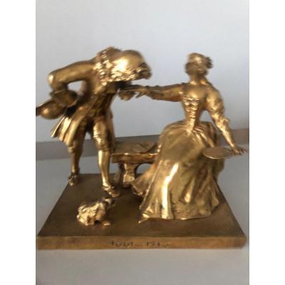 Bronze Doré Signé Bouquet Regne De L XIV  1661 - 1715 Courtisant Une Femme Assise Sur Un Ban