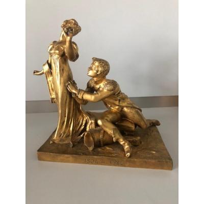 Bronze Doré Signé Bouquet Représentant Napoléon Agenouillé Devant Une Femme 1804 - 1814