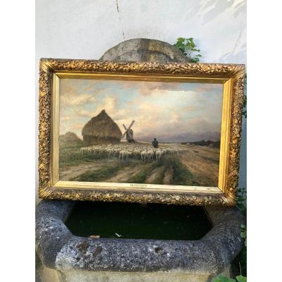 Peinture Huile Sur Panneau De Gaston Guignard Paysage