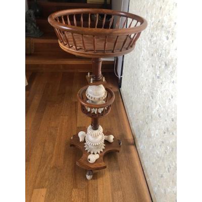 Knitting Machine Holder Bidermeier Cherry And Alabaster Period Circa 1830